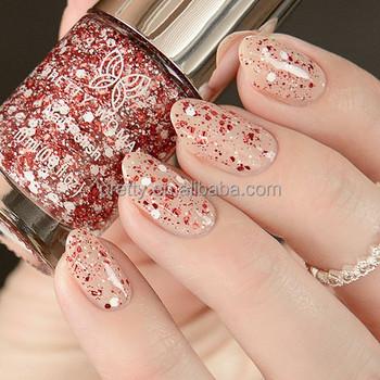 Fashion Red White Splatter Nail Polish With Glitter Nail Decoration ...