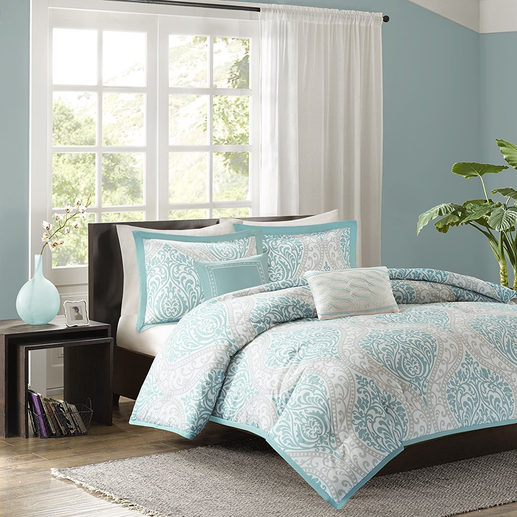 Get Quotations · Intelligent Design 100perscent Polyester Microfiber  Printed 5 Piece Comforter Set King Cal King Aqua ID10