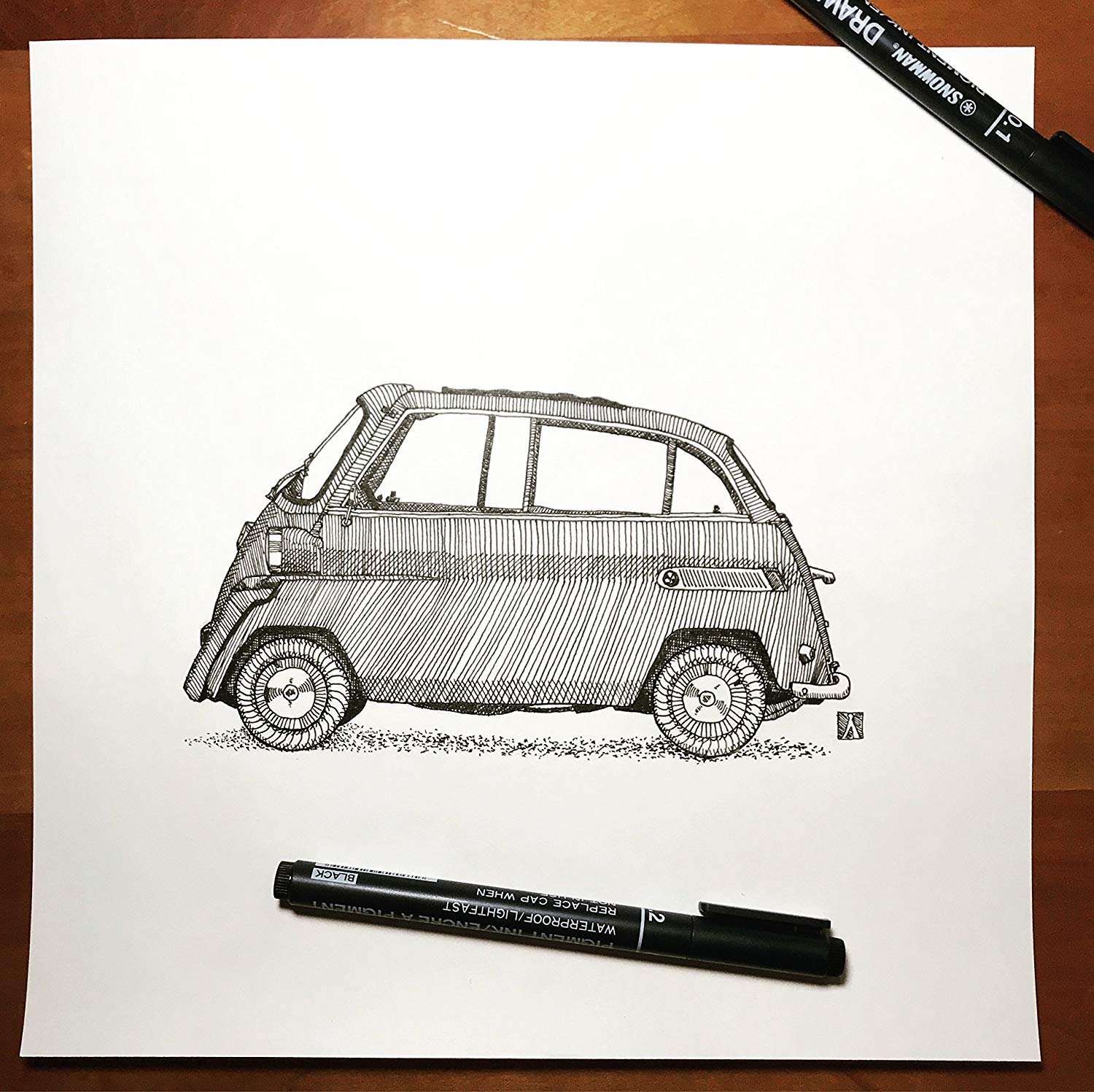 KillerBeeMoto: Original Pen Sketch of Vintage Isetta Micro-Car (Limited Prints Also Available)