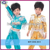 In-Stock wholesale Boy hip-hop Jazz dance costumes children's stage costume Yellow Blue