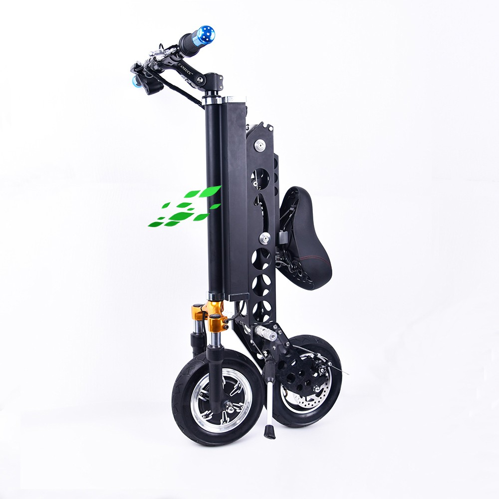 Folding portable 36v black color 10ah two wheel electric for Fold up scooters motorized
