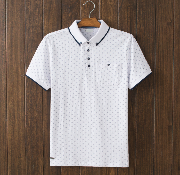 2016 spring and summer men short sleeved dot polo t shirt 100% cotton