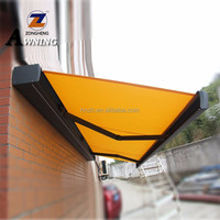 2018 Newest Modern Design Outdoor balcony Sun Shades Motorized Aluminum Full Cassette Retractable Cheap Awning with LED Lamp