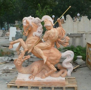 MGP240 Marble Soldiers And Horse Roman Statue