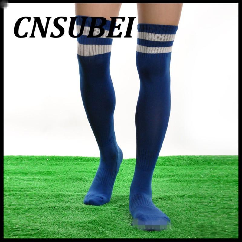 40c44f146 Women Men Unisex Athletic Stripe Sports Soccer Football Running Knee High  Tube Socks