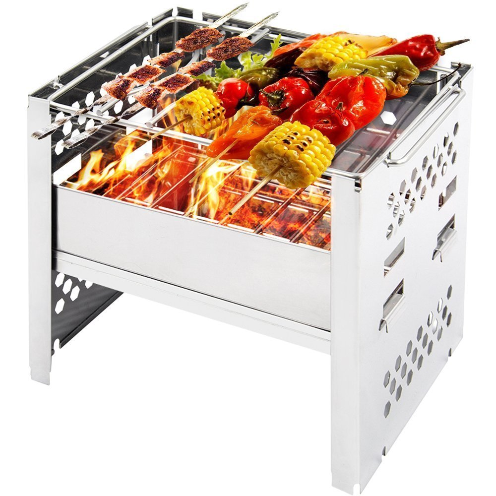 Chelitte Wood Burning Backpacking Stoves/ 1-2 People Use Outdoor Foldable Portable Camp Stoves Picnic BBQ Cooker,Charcoal Stove 4-step Height Adjustment Multifunctional Camping Hiking Cooking Stove