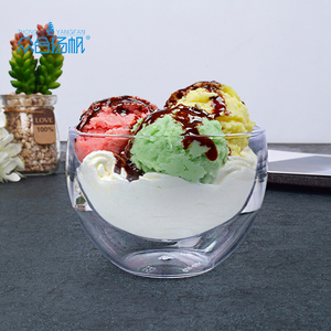 High quality custom clear disposable hard mini plastic dessert ice cream pudding packaging container cup and box