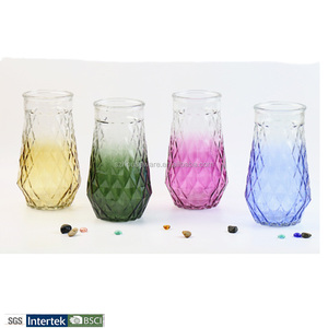 Wholesale color glass vase for decoration cheap glass bottle decoration with color printing