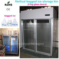 Vertical double glass doors bagged ice storage bin with light box