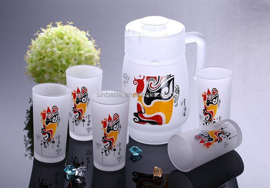 7pcs Drinking Glass Set With Chinese Style Design,Glass Jug With 6 ...