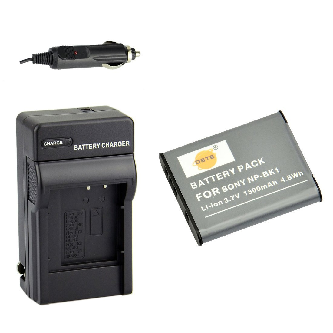 DSTE NP-BK1 Battery + DC16 Travel and Car Charger Adapter for Sony Bloggie MHS-CM5 MHS-PM5 Webbie MHS-PM1 DSC-S750 S780 S850 950 980 W180 W190 W370 Camera