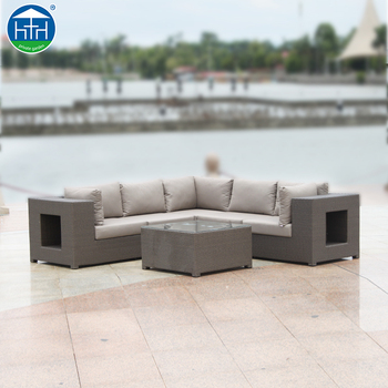 DW SF100 Indonesia Outdoor Garden Aluminum Polyrattan L Shape Sofa Furniture