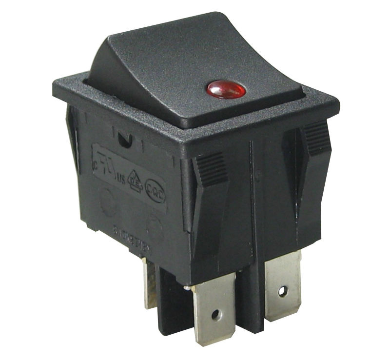 Double pole Rocker Switch with/without illuminated,on-off-on, on-off SPST,SPDT,DPST,DPDT, manufacturer China