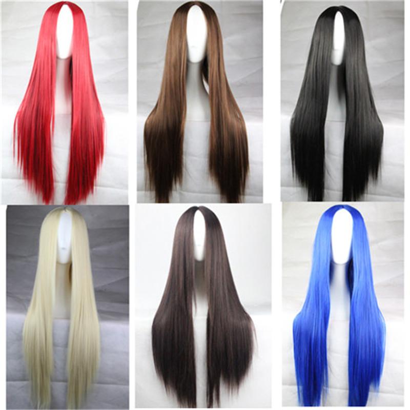 Горячая 75 см длинный парик вырезать женщины ну вечеринку парики дешевых синтетических парики блондинки красный черный коричневый синий косплей zaivat vypremlyat