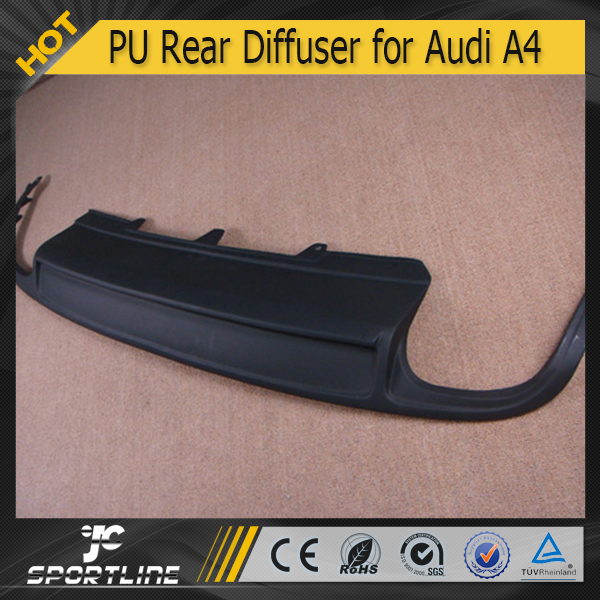 Dual Outlet PU S4 Style Rear Bumper Diffuser for Audi A4 B8