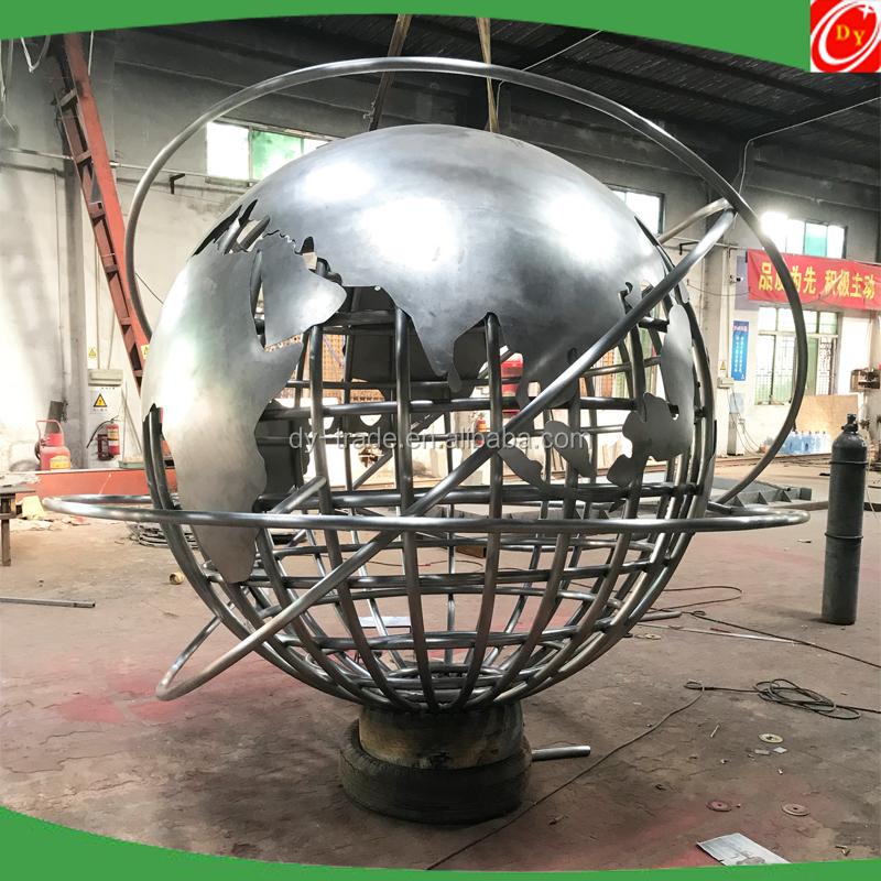 7 Feet Large Custom Outdoor Metal World Globe Sculpture