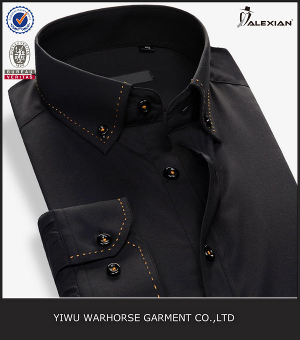 top stitching plain black collar shirts