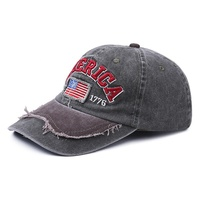 USA Flag Worn Out Vintage Embroidered Torn Washed Denim Baseball Cap