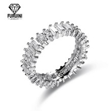 925 Sterling Silver Completa Strass Eternity <span class=keywords><strong>Anello</strong></span> <span class=keywords><strong>di</strong></span> Diamante DELLA CZ
