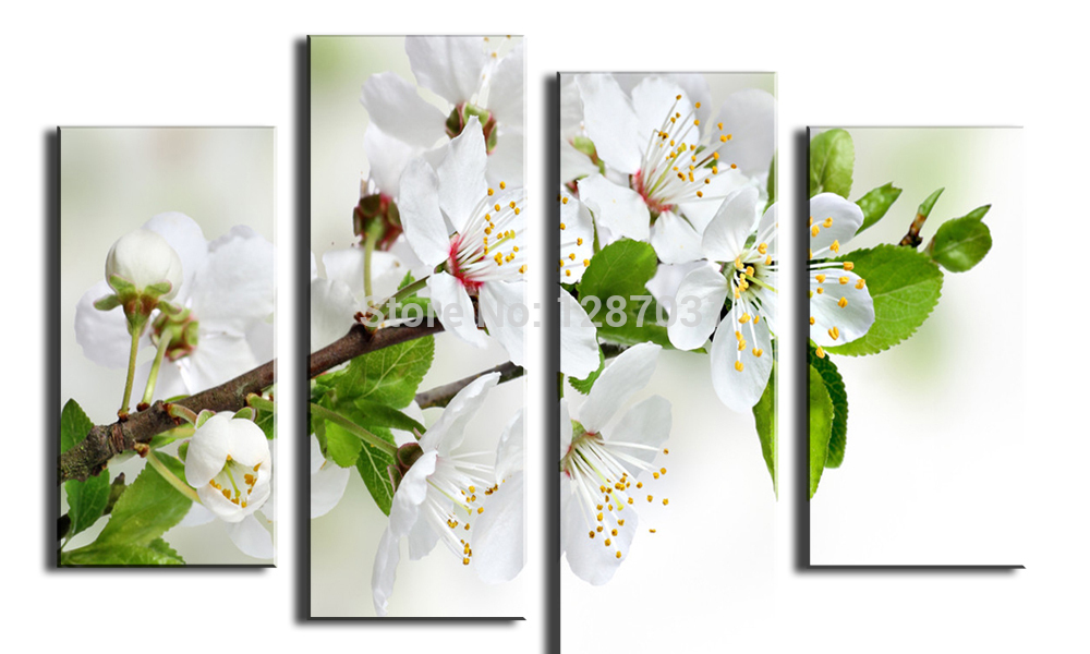 Free Shipping 100% High Quality Hot Sell White Plums Home Wall Decoration Modern Oil Painting on Canvas High Quality
