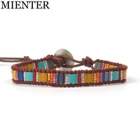 Wholesale Simple Style Colorful Square Beaded Bracelets Natural Stone Single Leather Wrap Cuff Bracelet Jewelry