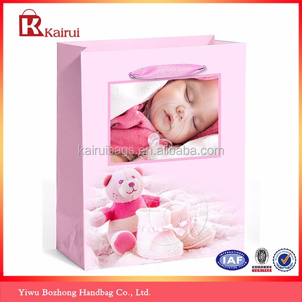 Wholesale lovely design raw material of paper bag for baby
