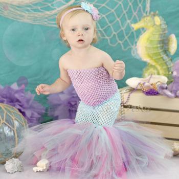 c4c2acab1 Bebé niño bebé niñas tul sirena con cola de pez de vestido de princesa  Linda traje