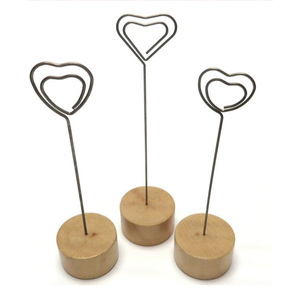Desk decorative wedding metal wooden heart alligator metal paper clips note memo photo stand holder for office