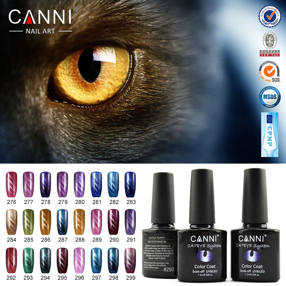 #51023J 2016 CANNI brand 7.3ml 24 colors nail supplies 3d nail art cat eye magnetic uv nail gel polish