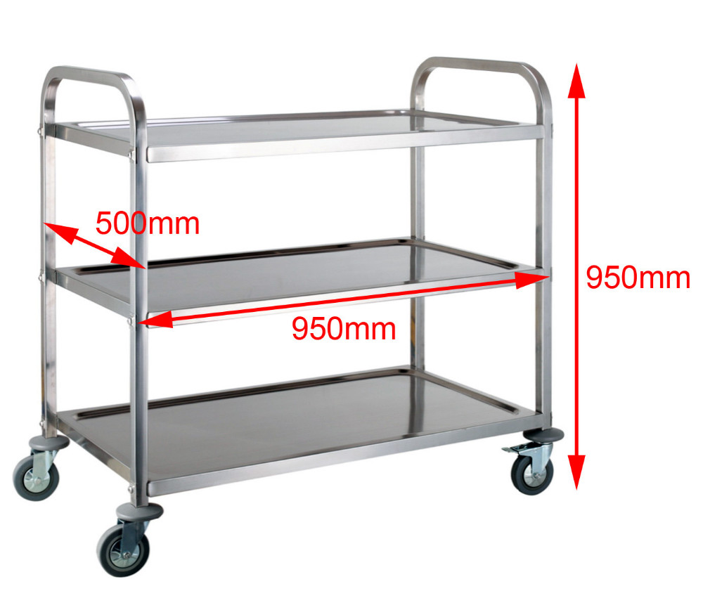 3 Tier Dining Trolley Kitchen Serving Cart Stainless Steel Serving ...