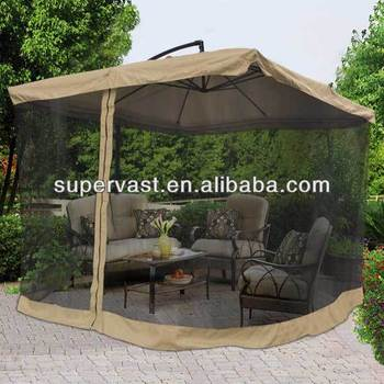 China 9ft Patio Offset Mosquito Net Outdoor Umbrella Buy Outdoor