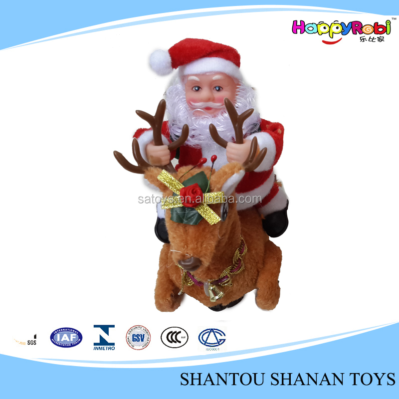 Gift riding deer old man electric indoor decoration santa claus toy