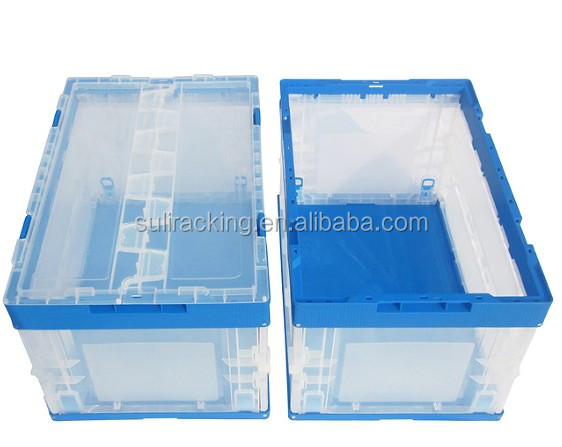 plastic collapsible folding crate/transparent Plastic Moving Boxes With Foldable Lids