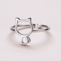 925 Sterling Silver Adjustable Ring Cute Cat Ring for Women Jewelry gift
