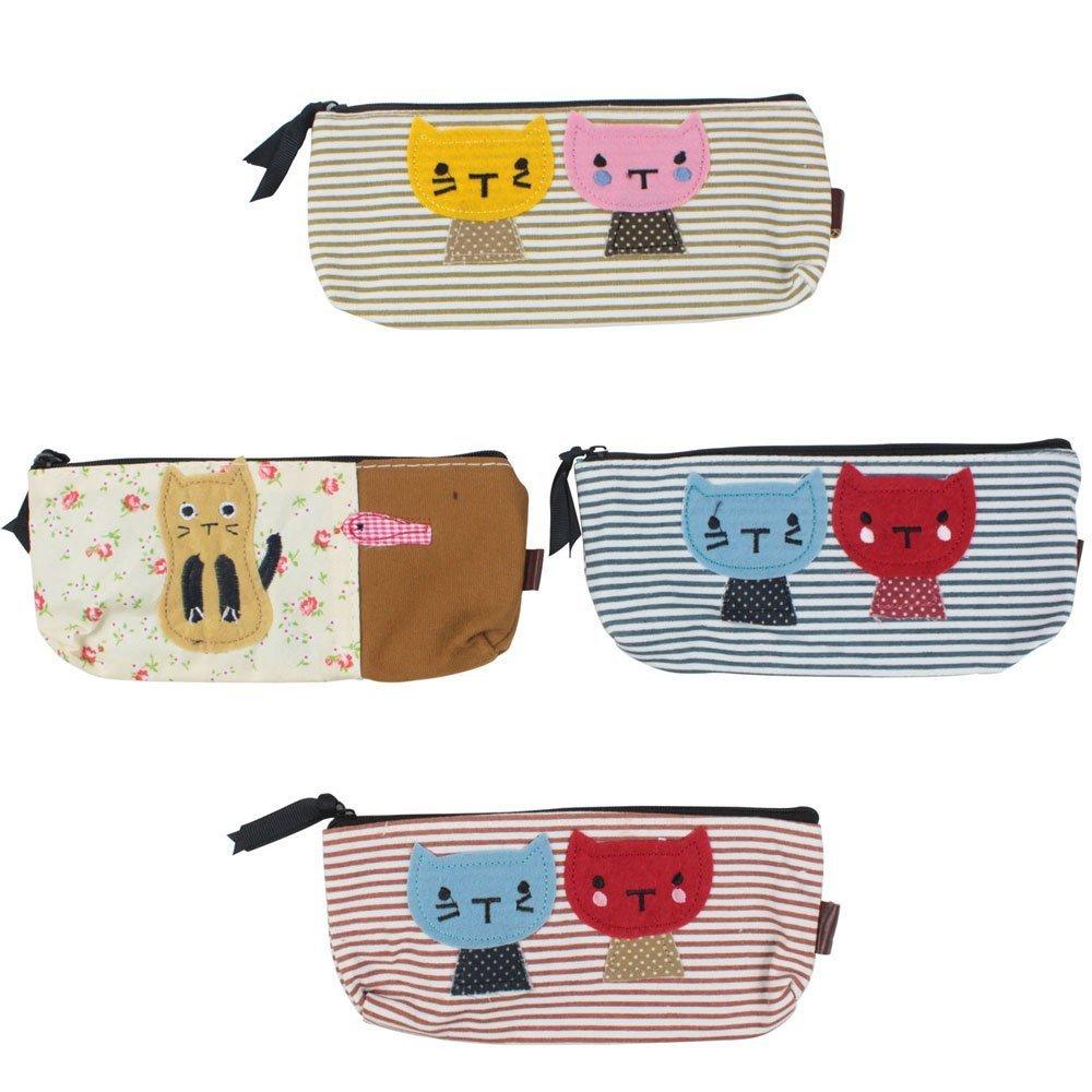 Pen bag - TOOGOO(R)Lot of 4 pen bags in fabric various colors Cat Pattern