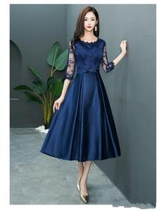 5eb8d15d600f ZH1024X 2019 Vintage Navy Blue Lace Short Modest Bridesmaid Dresses With A  line Lace Satin Bridesmaid