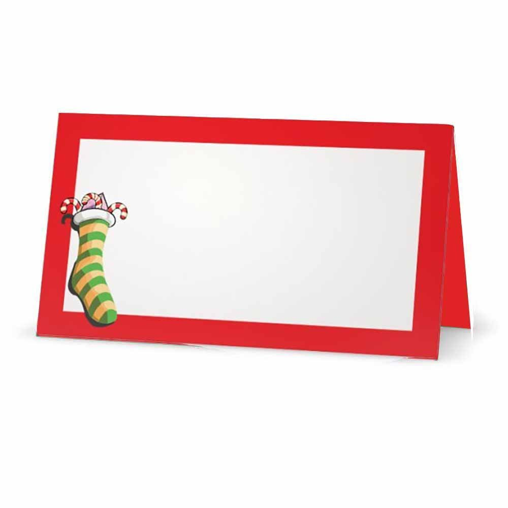 Christmas Stocking Red Place Cards - FLAT or TENT Style - 10 or 50 PACK - White Blank Front with Border - Placement Table Name Seating Stationery Party Supplies Occasion Dinner (10, TENT STYLE)