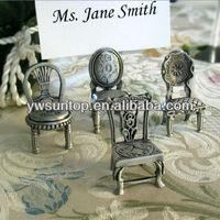 Miniature Pewter Chair Place Card Holders home table decoration gifts