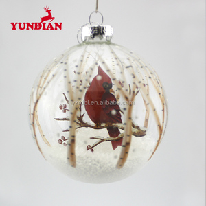 Wholesale bird printed ornament transparent decoration glass balls for christmas tree