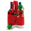 Handmade top quality felt red santa pant bag for gift and wine bottle