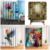 Window 3D Dog Polyester Fiber Colorful Lion Digital Printing Hook Shower Curtain
