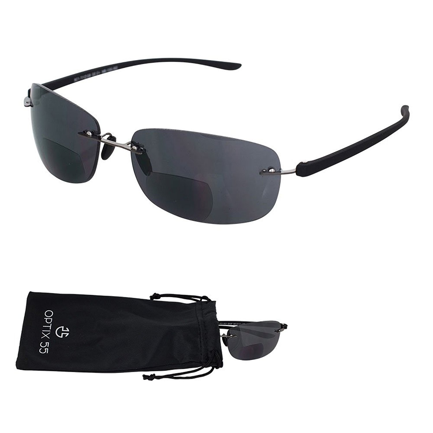 d4d5aa1303 Get Quotations · Rimless Bifocal Reading Sunglasses - Lightweight