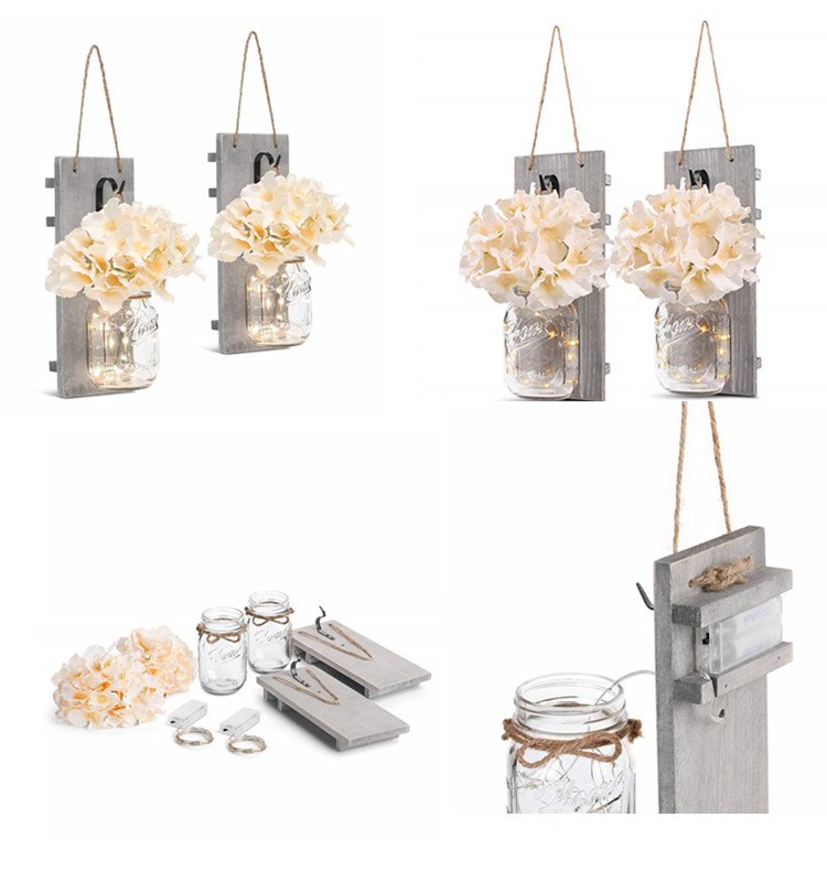 Decoratieve Muur Decor-Rustieke Opknoping Mason Jar Sconces met LED Fairy Lights en Bloemen-Boerderij Home Decor Set van 2