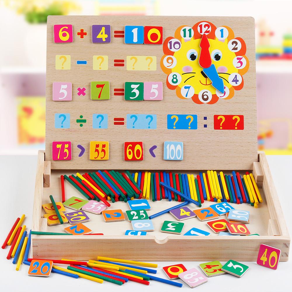 Lavagna di Conteggio di Orologio Di Conteggio di Legno Math Game Box
