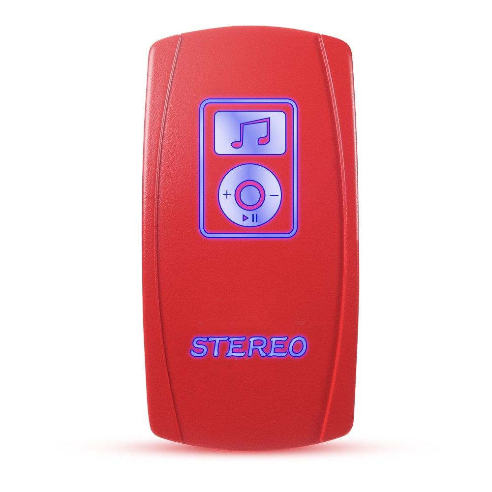MicTuning RedLever Stereo Rocker Switch - On/Off Led Light 12V/24V, Blue Backlight [Collection Edition]