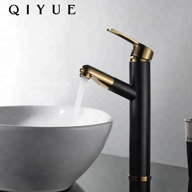 Europe Luxury brass single handle pull out <strong>black</strong> and gold bathroom basin faucet