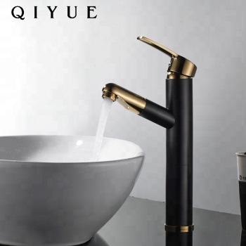 Europe Luxury brass single handle pull out black and gold bathroom basin faucet