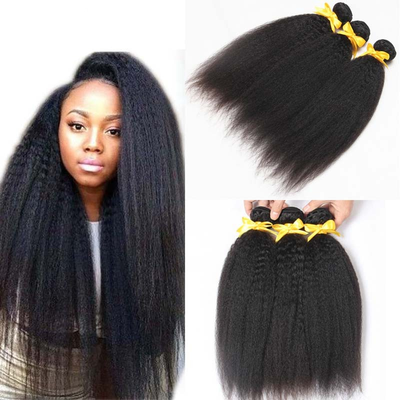 Brazilian remy Virgin hair Coarse Yaki Human Hair Weaves Italian Yaki  Natural Black Kinky Straight Hair 7b55021c59e2