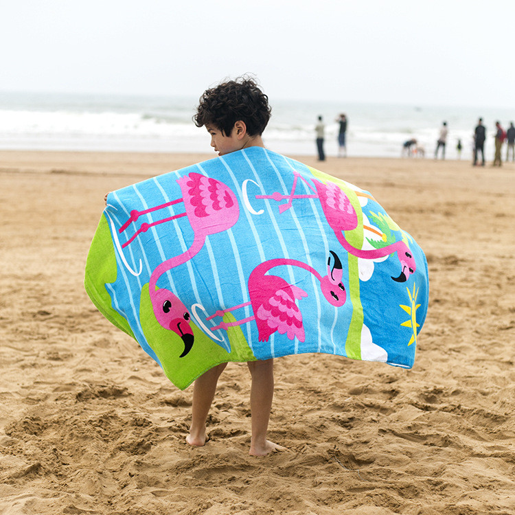 Custom design reactive printing large children beach towel 100% <strong>cotton</strong>