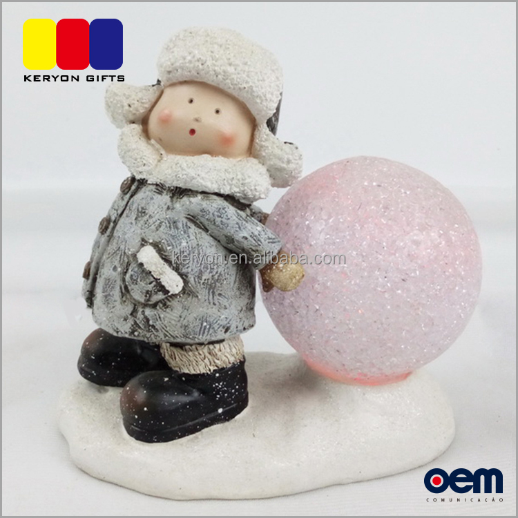 Polyresin Snowball Little Boy Christmas Snow Ball Souvenir Gifts